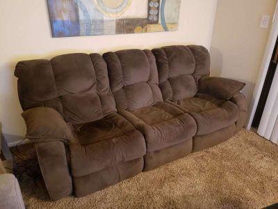Plush Brown Cloth Reclining Sofa