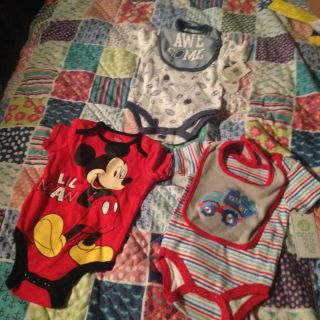 3 new with tags boys onesies (2 with bibs)