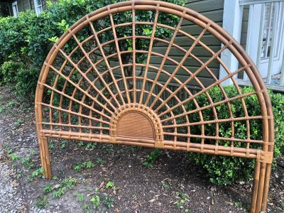 Vintage Bamboo Rattan Arch King Headboard and Bed Rails