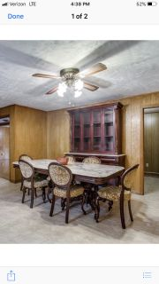 Marble top table, Hutch, China cabinet