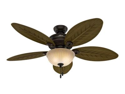 NEW! Hunter Grand Cayman 54 in. Indoor/Outdoor Onyx Bengal Bronze Ceiling Fan with Light Kit