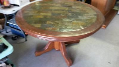 $160, Oak Table With Slate Inlay