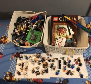Legos! Over 45 mini figures, over 5 pounds legos, 2 canvas bins, lego ruler, stickers, pieces of all sizes including Star Wars/Minecraft