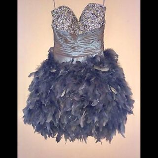 Jovani Strapless Sequin Feather Cocktail Dress Size 0
