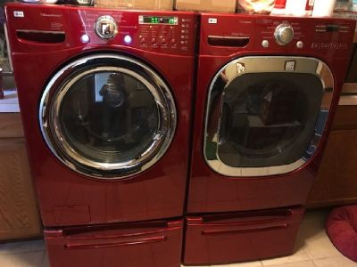 LG Front Loading Washing / Dryer (Red) with all bells & whistles + pedestals