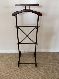 Mahogany and wrought iron valet. Suit stand