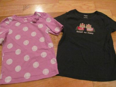 Gymboree size 6 shirts (purple polka dot, navy 'Sweet and Sassy' puppies) *Price is for both