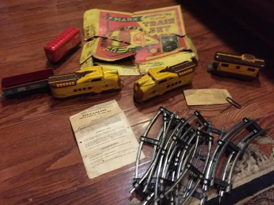 Marx Train Set 765 my Grandfather's found in Attic with Key&10 pieces of Track**SEE more Pics in Comments**