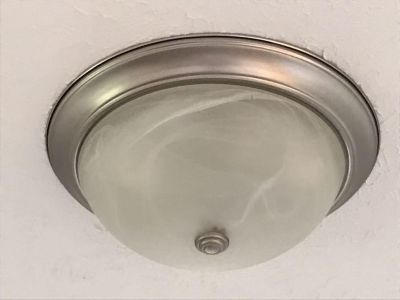 Flush Mount Ceiling Light - Polished Nickel Base & Frosted Glass with Alabaster-Look Design: 15 Diameter - PRICED INDIVIDUALLY