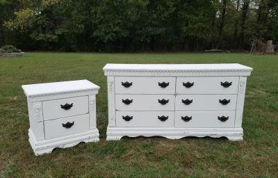 FARMSTYLE 6 DRAWER DRESSER & MATCHING NIGHTSTAND ($425 for both)