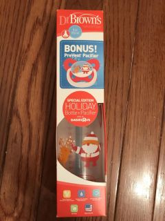 NIB Dr brown bottle and pacifier. Christmas