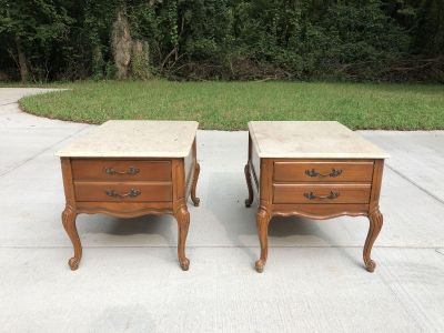 Vintage End Tables with Marble Tops