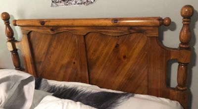 Beautiful headboard, dresser with mirror, tall chest, night stand, and platform frame QUEEN SIZE
