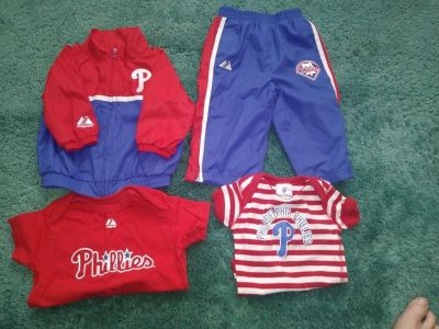 4 Piece Philadelphia Phillies Baby Clothing Lot 2 Piece Windbreaker Set Short Sleeve T-shirt Short Sleeve Onesie Size 6 - 9 Months