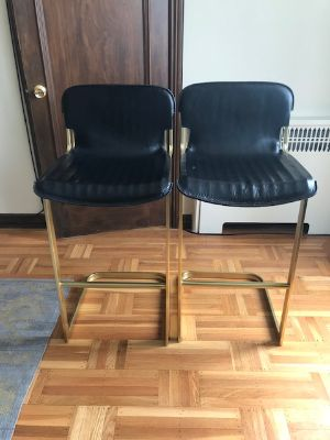 Leather / Brass Bar Chairs
