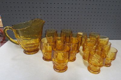 Vintage MCM amber Viking glass pitcher and glasses