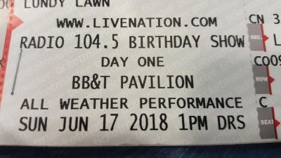 2 lawn tickets for Radio 104.5 Birthday Show Day One