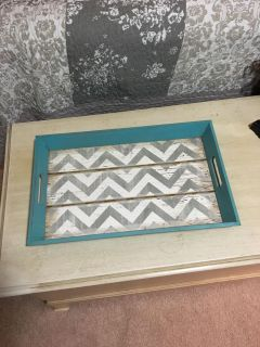 Grey, white, and turquoise tray