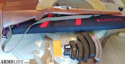 For Sale: Ruger 10/22 International Stainless/Walnut w/ globe & diopter sights, 7 magazines, sling, case