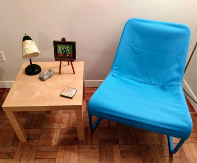 Blue Canvas Chair And 2 End Tables