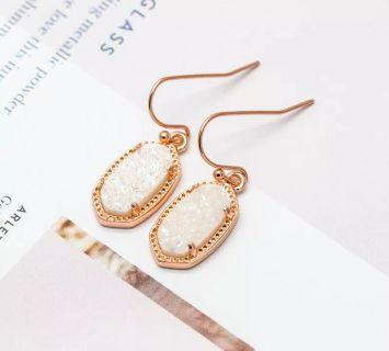 Brand new, with dust bag, Kendra Scott Lee earrings (rose gold and druzy)!