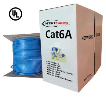 1000FT Cat6A Plenum Bulk Solid Copper Network Cable