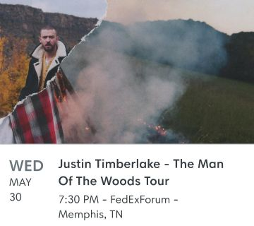 Two Justin Timberlake Concert Tickets