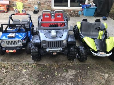 (3) 12 volt power wheels with batteries and chargers