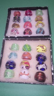 Colorful Glass Rings...unusual!!!