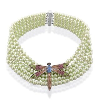 New Dragonfly on Green Glass Pearls Elegant Necklace - Never worn