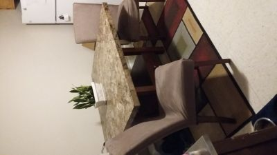 Solid marble table w/ 6 chairs