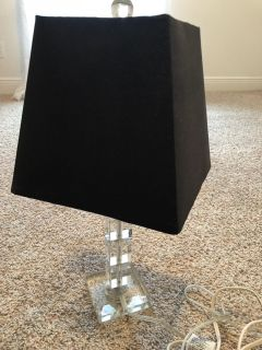Small tabletop faux crystal lamp w/ black shade