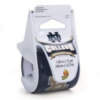 Duck Brand Notre Dame Printed Packaging Tape with Dispenser, 1.88-Inch x 15-Yard Roll