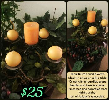 Candle Votive + Grape Decor