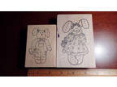 Set of Two Bunny Rabbit Wood Mounted Rubber Stamps by
