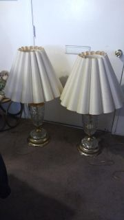 Pair of Vintage Tall Crystal Lamps