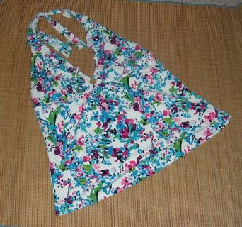 Anne Cole Collection White Floral Halter Bathing Swim Suit Top Womens 16