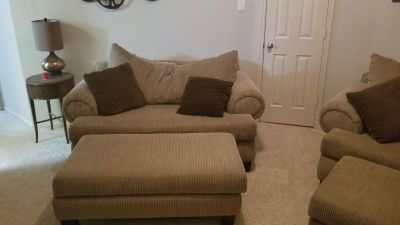 2 Couches w/ 2 large ottomans