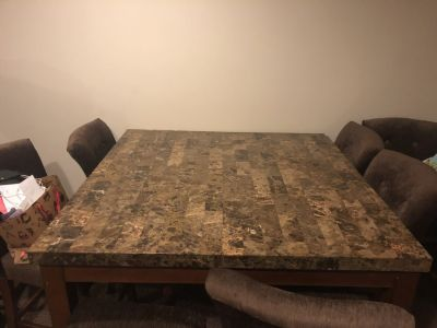 4ft x 4 ft marble table with 8 chairs