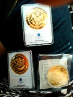 Coin Collectors look or buy for kids! 3 set coins layered in 24k gold