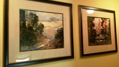 Large Pair Pictures 48 Tall X 52 Wide Landscape Texture Frames Fabric Matting