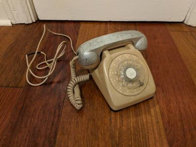 Antique Pale Rose Rotary Phone, Silver Receiver