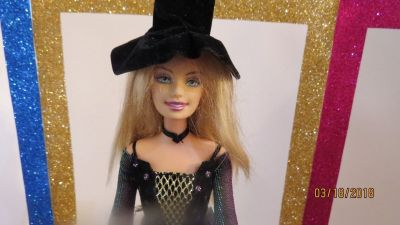 2005 MATTEL BARBIE DOLL HALLOWEEN STAR BLONDE BLUE EYES WITCH HAT SEWED ON
