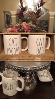 Rae Dunn Cat Mom Cat Dad Mugs
