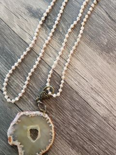 New Blush stone slice necklace from Sweet Tea boutique