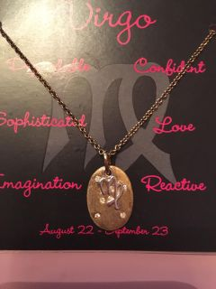 Brand new VIRGO necklace 14kt gold plated