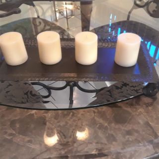 OIL RUBBED BRONZE CANDLE TRAY W/CANDLES