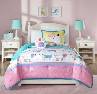 Colorful puppy twin bedding & decorative pillow.