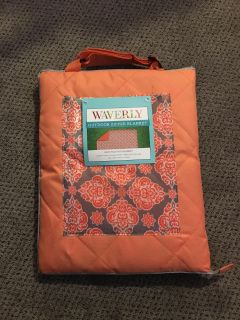 Waverly Outdoor Blanket. Folds & Zips Up for Easy Travel. Adjustable Shoulder Strap. Brand New with Tags.