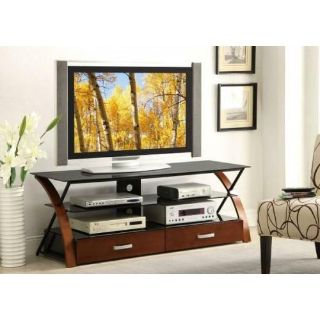 "NEW Brown & Black TV STAND MEDIA CONSOLE 60"" W CONTEMPORARY!"